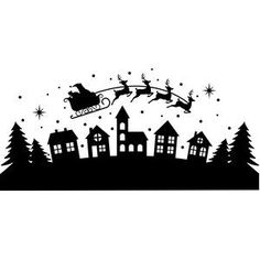 Silhouette Design Store: Santa Flying Over Houses Christmas Stencils, Christmas Svg, Christmas Projects, Holiday Crafts, Christmas Time, Christmas Ornaments, Silhouette Design, New Years Decorations, Christmas Decorations