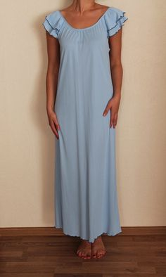 Vintage Pale Blue Womens Nightgown Sky Blue by VintageAgency, $20.00