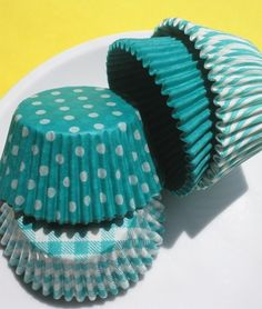 Cute turquoise cupcake liners...if we can find them