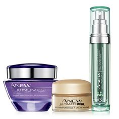 Appear ageless with this collection. A $85 value, the collection includes:•Anew Ultimate Multi-Performance Night Cream Try-It Size -transforms the look of 10 key signs of aging. Overnight, skin looks firmer. 0.5 oz. net wt. a $35 value•Anew Clinical Absolute Even Multi-Tone Skin Corrector -9 out of 10 women saw a dramatic improvement in skin tone for flawless, younger-looking skin.* 1 oz. net wt. a $35 value•Anew Platinum Day Cream Broad Spe...