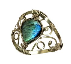 Wire Wrap Cuff Bracelet with Labradorite stone by Hyppiechic, $58.00
