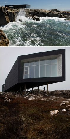 13 Totally Secluded Homes To Escape From The World // Off the coast of Newfoundland, Canada, on a tiny island called Fogo, sits a studio created by Saunders Architecture. Designed to mimic the seasons, the linear structure is perched right on the edge of the water to capture the fullness of the open ocean and provide a place completely free from distraction.