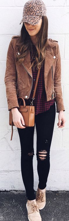 lovely spring outfits /  Brown Suede Jacket / Camel Leather Shoulder Bag / Black Ripped Skinny Jeans / Black & Red Checked Shirt
