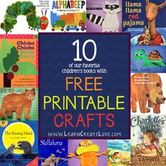 Crafts to go with 10 Different Books - FREE PRINTABLES   LearnCreateLove.com