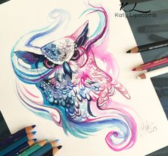 Owl. Fantasy Watercolor Paintings and Colored Pencils Drawings. See more art and information about Katy Lipscomb here=> http://bit.ly/1dmGXdG