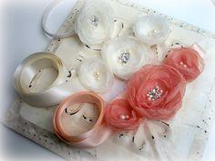 Bridal Organza Flower Sash - Peach Coral - Bridal Sash Belt - Bridesmaids - Wedding Gift Accessory. $60.00, via Etsy.