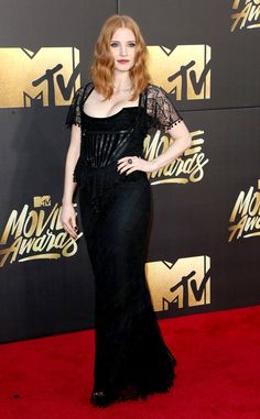 Jessica Chastain from MTV Movie Awards 2016 Red Carpet Arrivals  The presenter turns out with her usual glamorous fare.