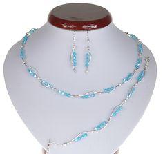 BIŻUTERIA ŚLUBNA KOMPLET ŚLUBNY wieczorowy posrebrzany kryształki bicone niebieski KP199 Beaded Necklace, Jewelry, Fashion, Beaded Collar, Jewlery, Moda, Pearl Necklace, Jewels, La Mode