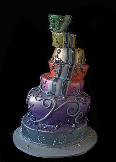 Topsy turvy multi-coloured cake. creative cake art wedding cakes 890060 katherine cake by www.creativecakeart.com.au, via Flickr
