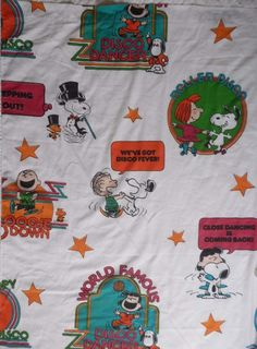 Vintage Peanuts Snoopy Charlie Brown Twin Flat Bed Sheet Fabric Muslin Sears #Peanuts #Novelty