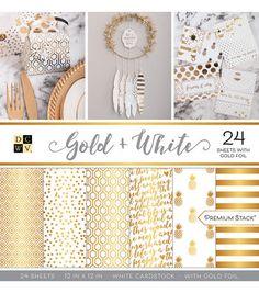 """DCWV 24 Pack 12""""x12"""" Premium Printed Cardstock Stack-Gold"""