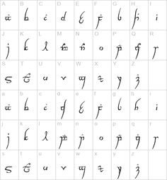 Elvish (Tengwar). My reading a few years ago teacher had us decipher sentences in elvish when we read The Hobbit :)