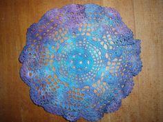 Tie Dye/ Crochet/  Idea for reception. Buy crochet tablescloths for reception and tie-dye in wedding colors!