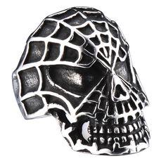 R&B Bijoux - Anneau Homme Crâne Squelette XL Toile d'Araignée Collection Bad Ass - Acier Inoxydable - Bague 55mm (Argent, Noir): Amazon.fr: Bijoux