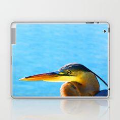 The Great One - Blue Heron By Sharon Cummings Laptop & iPad Skin by Sharon Cummings | Society6 #birds #heron #laptops