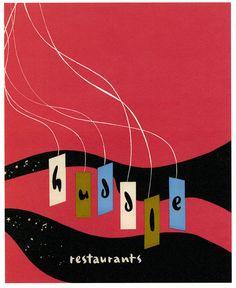 Huddle, Googie Los Angeles restaurant ad, 1956