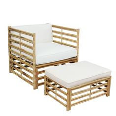 Zew Handcrafted Bamboo Sofa Chair Lounger and Ottoman