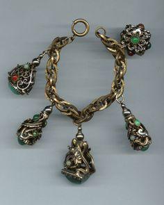 for Sale on Ebay - Vintage Fob Charm Bracelet Nouveau Deco Victorian Revival Art Glass Dragon | eBay