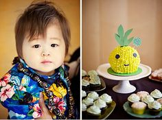 How adorable is the pineapple cake from this Hawaiian-themed First Birthday?