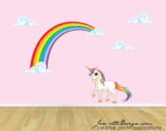 Rainbow Unicorn Wall Decal, Unicorn Wall Sticker, Rainbow Wall Art, Wall Stickers