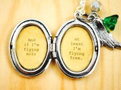And if I'm flying solo at least I'm flying free wicked locket etsy