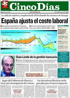 Los Titulares y Portadas de Noticias Destacadas Españolas del 3 de Junio de 2013 del Diario Cinco Días ¿Que le parecio esta Portada de este Diario Español?