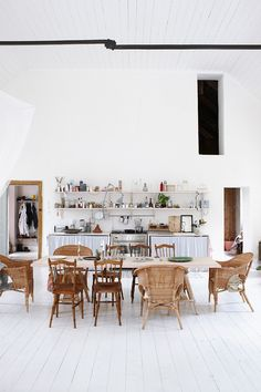 Open Kitchen with White ceiling and floor