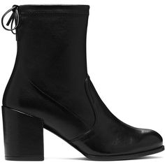 Stuart Weitzman THE SHORTY BOOTIE ($598) ❤ liked on Polyvore featuring shoes, boots, ankle booties, block heel boots, short leather boots, bootie boots, stretch boots and block heel ankle boots