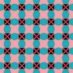 gingham inspired : geometric : retro pink & blue fabric - stoflab