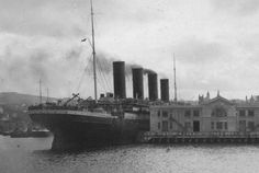 RMS Olympic. Titanics sister ship in New york 1912