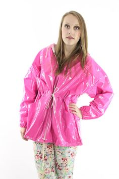 80s Vinyl Raincoat NOS Hooded Bright Pink PVC Coat Jacket ...