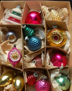 Vintage Shiny Brite Ornaments - Set of 5 Shapes / Figurals Pastel ...