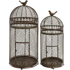 Dark Brown Metal Bird Cages....would also look beautiful with plants in them.  hmmm.....way to cat proof indoor plants!