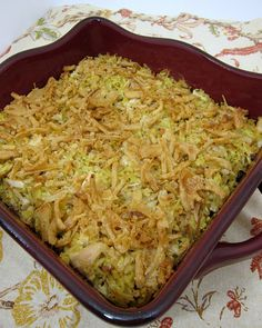 Chicken Rice-a-Roni casserole: 1 box Rice-a-Roni, 1 can cream of chicken soup, 1 cup sour cream, 3-4 cups cooked, chopped chicken, 1 can French fried onions.