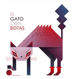 by Malota . Malota is the pseudonym of Spain based illustrator and designer Mar Hernandez. Mar's work uses a lot of punchy colors, varied textures and gradients, as well as sharp geometric shapes, which is evident in this illustration of a cat in boots.