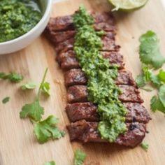 Cilantro Lime Steak with Chimichurri and a Corona--YUM. #corona #coronaextra #theplacetobe