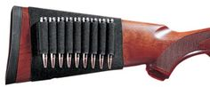 Rifle butt stock shell holder. Elastic sleeve slips over rifle stock. Elastic loops put shells within easy reach for hunting or target shooting. Holds nine rounds....