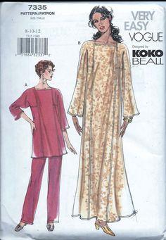 Vogue 7335 Pullover Caftan Top Pull On by VintagePatternStore