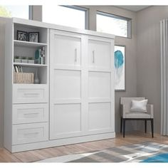 Beachcrest Home Navarra Storage Murphy Bed Murphy Bed Desk, Murphy Bed Plans, Modern Murphy Beds, Loft, Bed Reviews, Bed Wall, Space Saving Furniture, Adjustable Beds, Decorate Your Room