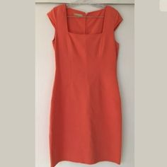 "MICHAEL KORS Orange Square Neck Wool Sheath Dress Absolutely stunning sheath dress from Michael Kors (designer line - NOT Michael Michael Kors).  Retailed for $1550!!  Square neckline, back center zip closure, structured fit, not lined.  Standard used condition - worn but no flaws.  36.5"" long, 18"" pit to pit, 15.5"" across waist Dry clean only. Size 10. Made in Italy. 96% wool, 4% spandex Thanks for looking!! Michael Kors Dresses"