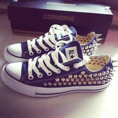 Spiked All Star Converse shoes- I want them in white though. The spikes are  a DIY! 2301d1c5c2e