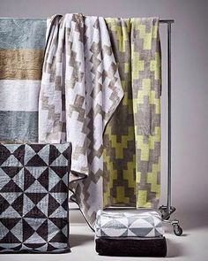 Keep warm this weekend with our snug selection of blankets in bold, geometric prints. From available in-store now. Hertex Fabrics, Fabric Suppliers, Keep Warm, Snug, Upholstery, Geometric Prints, Curtains, Interior Design, Cosy