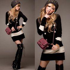 41c824d4358 New Fashion Korea Women s Black White Splicing Slim Fit Long Sleeves Mini  Dress
