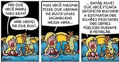 A cartunista Pryscila lamenta, sem perder o bom humor, um dos maiores desvios de dinheiro público da história do Brasil, o Petrolão