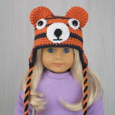 """TIGER ❤ AMERICAN GIRL DOLL HAT made from pattern in the book """"Amigurumi Animal Hats for 18-Inch Dolls"""" by Linda Wright. amazon.com/..."""