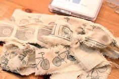 Stamps on muslin, cute ribbon for gifts...