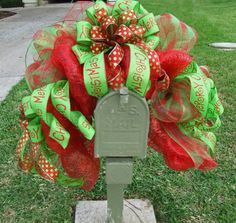 Christmas mesh over mailbox <3