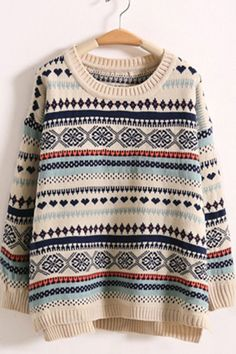 Graphic Print Winter Sweater