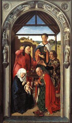 Дирк Боутс (Dirk Bouts) - Поклонение волхвов  (1445, Museo del Prado, Madrid)