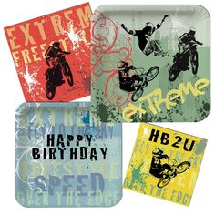 Available @ partypail.com. Extreme skateboard & BMX themed birthday!! Has tips on how to make your party extra cool for the birthday boy..like using a skateboard as serving tray, or using a lined helmet as a chip bowl! Check it out!!